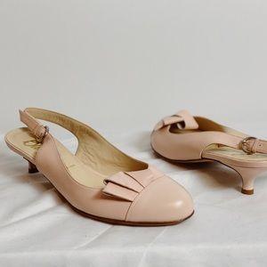 BUTTER Pink Ruffle Slingback Kitten Heels 10